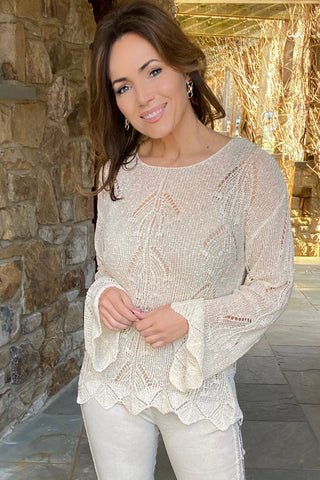 Open Shoulder Dress w/Shell and Pearl Beaded Trim and Crochet Lace
