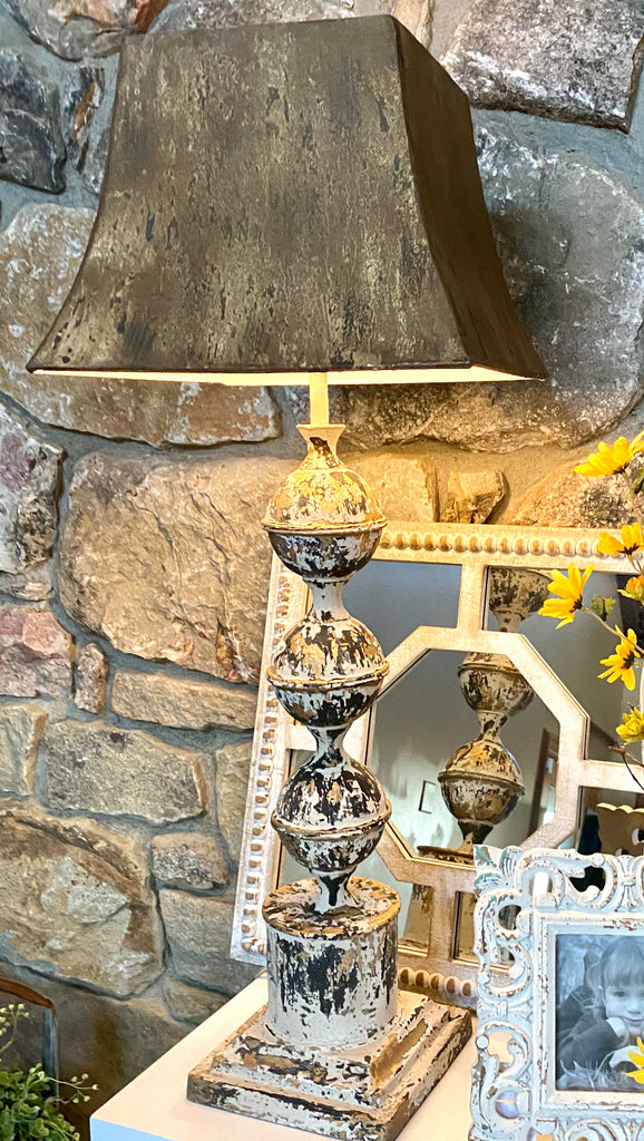 Rustic Black & Gold Washed Metal Lamp w/ Square Shade