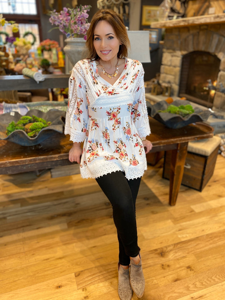 Ivory Floral Blouse