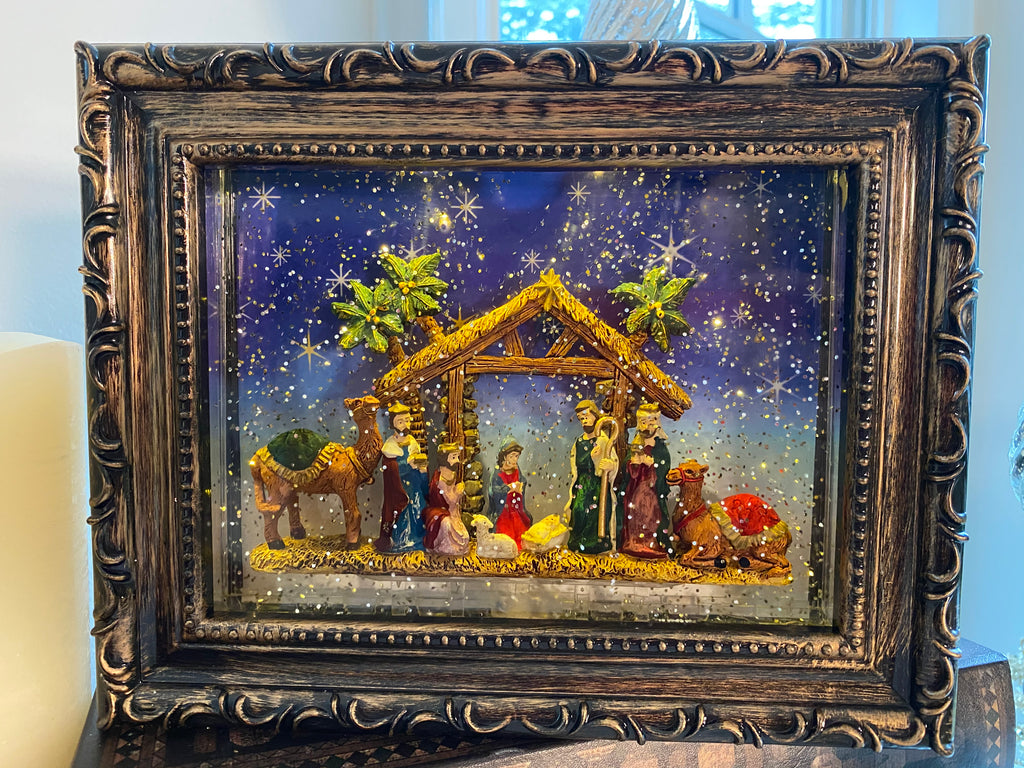 Nativity Lighted Water Picture Frame