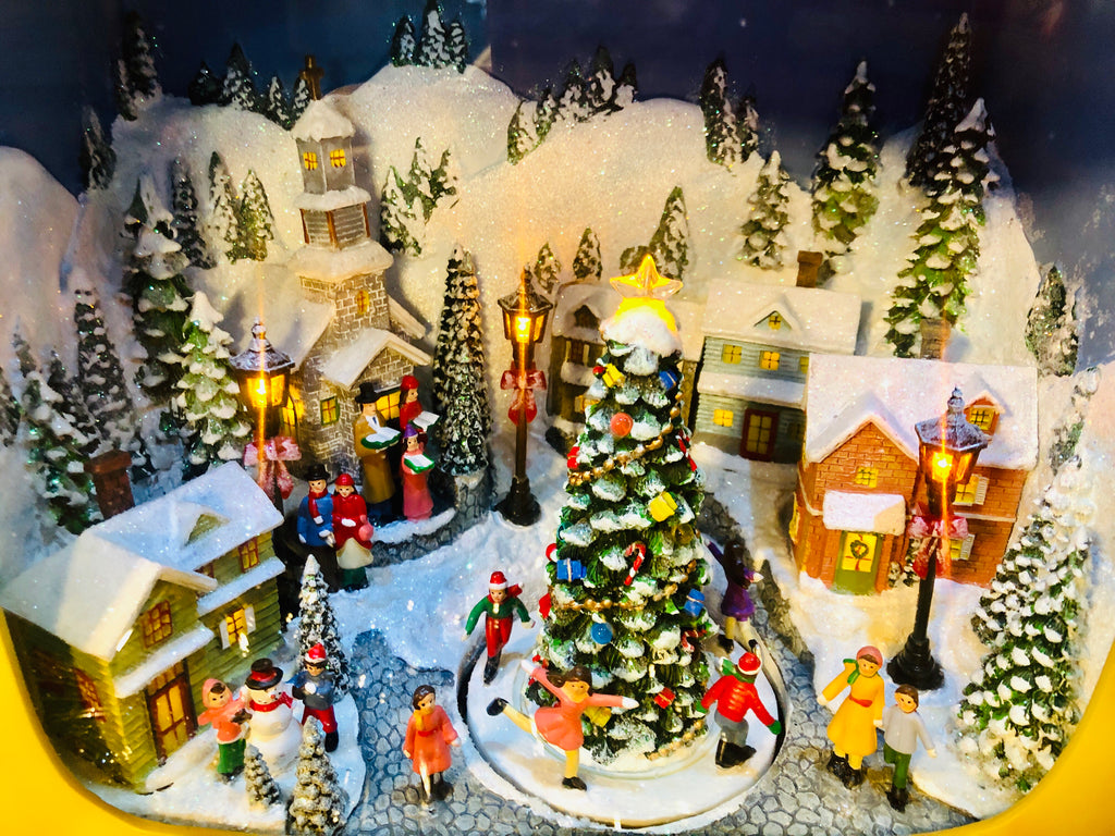 Snowy Christmas.Snowy Christmas Village Lighted Animated Vintage Tv Musicbox