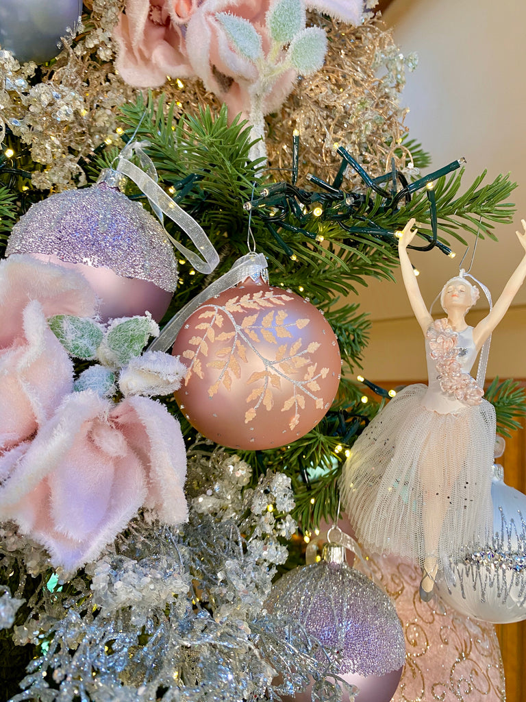 Frosted Lilac Sugared Top European Glass Ornaments