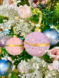 Blush Pink and Lilac Gold Trimmed Glass Ornaments