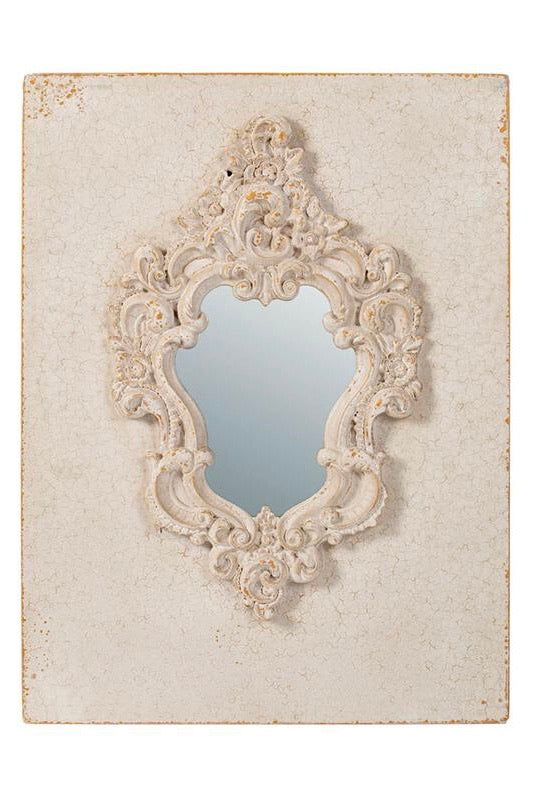 Antique White Elegant Wall Decor with Aged Mirror