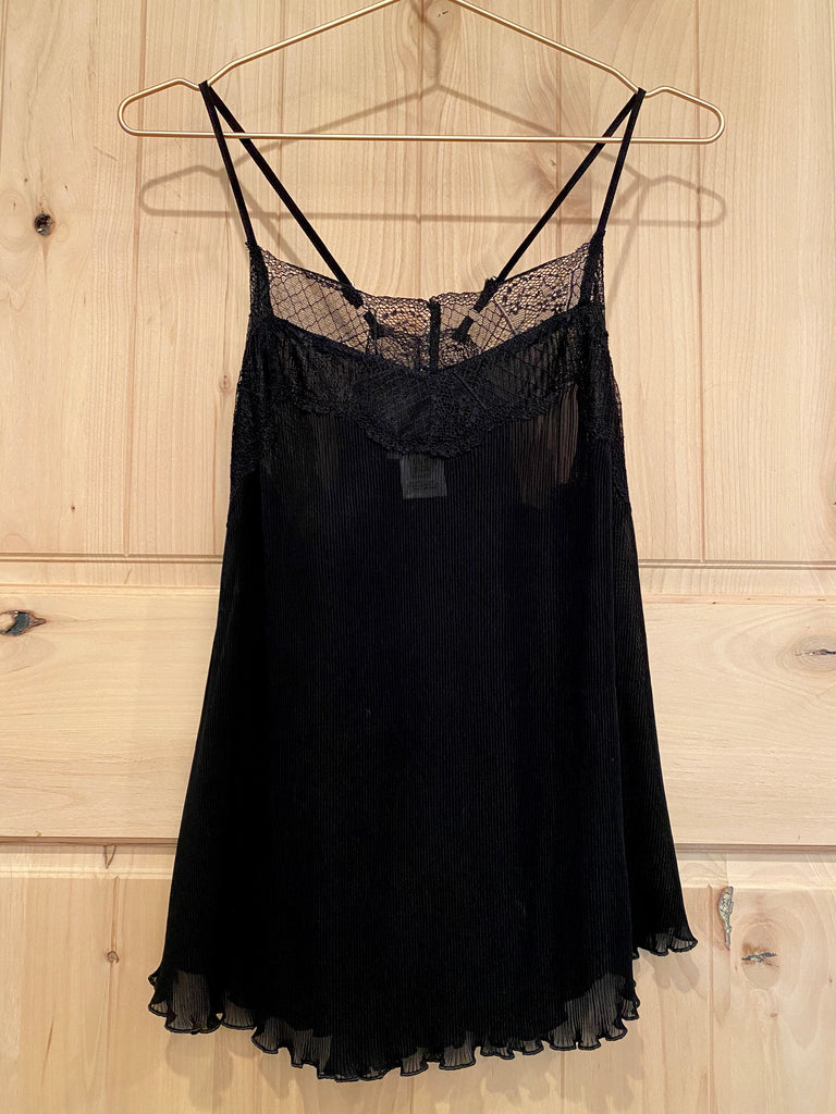 Black Pleated Cami with Lace Trim
