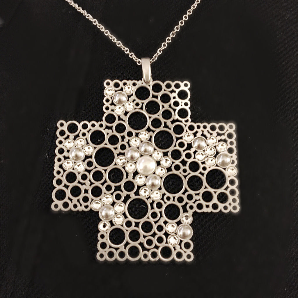 Arezzo Pearl and Crystal Accent Cross