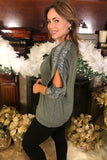 Long Sleeve Top with Open Sleeve and Sequin Detail