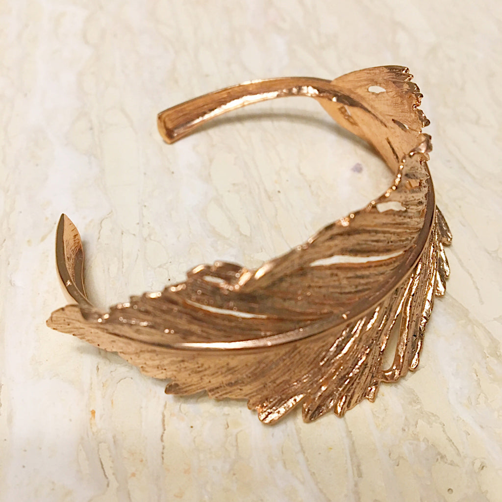 Italian Textured Feather Cuff Bracelet