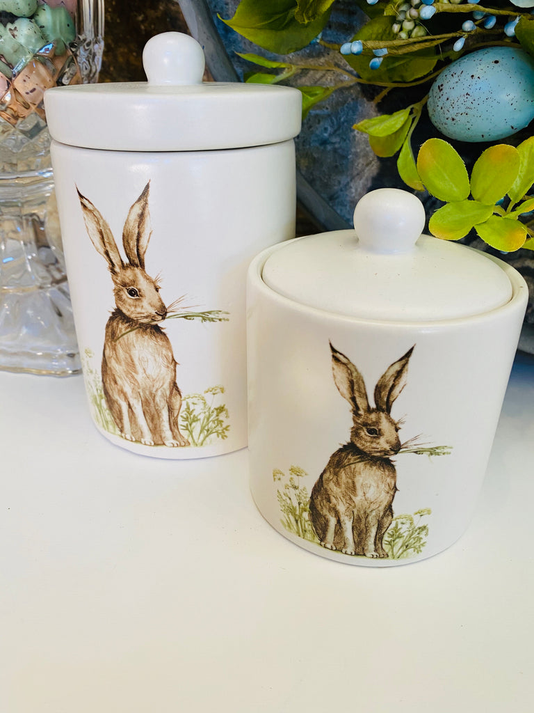 Set of 2 Ceramic Canisters with Storybook Bunny
