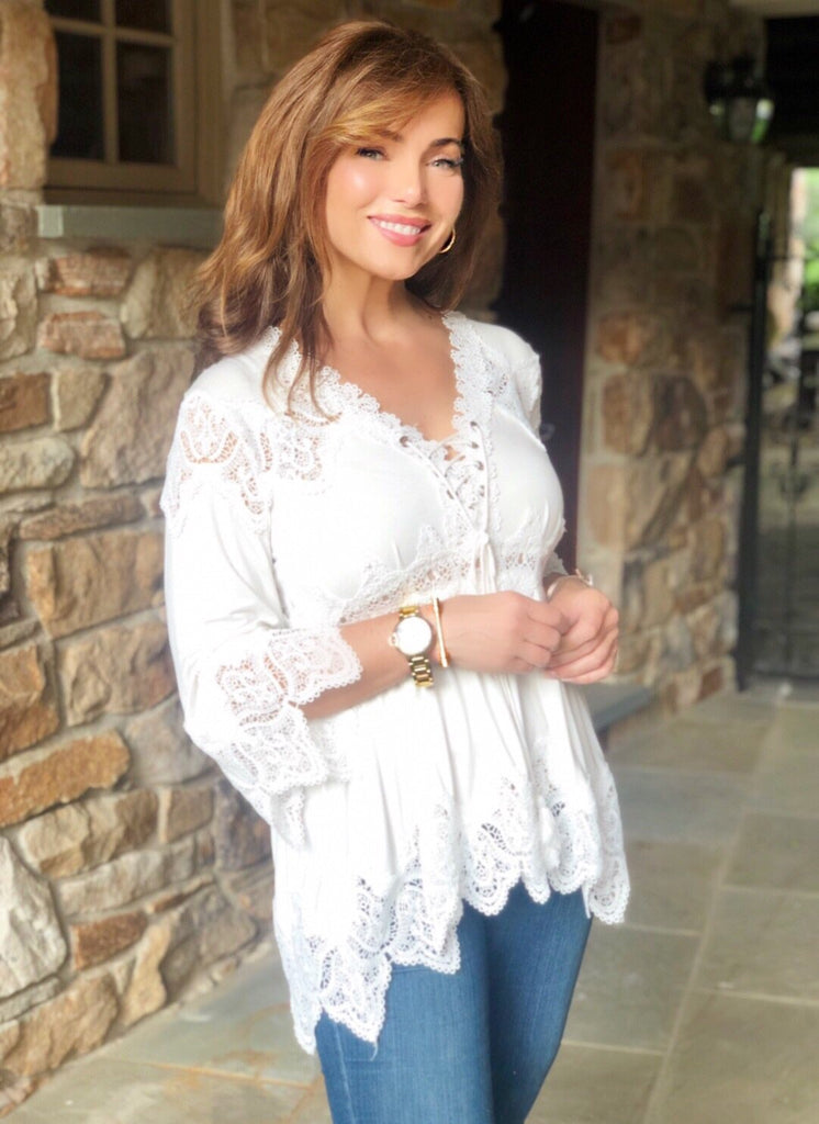 Knit Bell Sleeve Tunic With Crochet Inset Details Lisa