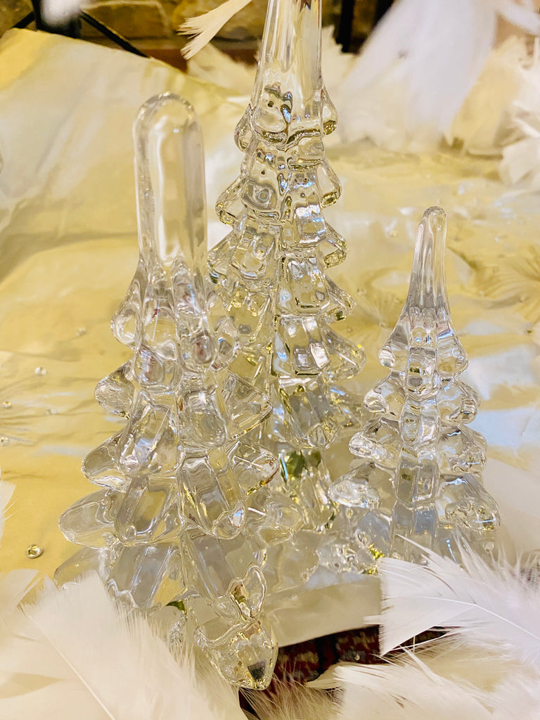 Set of 3 Clear Glass Trees
