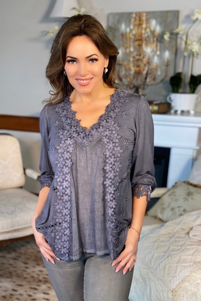 Charcoal Feminine Floral Embroidery Blouse