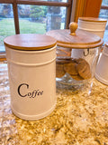 Set of 3 White Ceramic Tea, Coffee, Sugar Canisters with Wood Lids