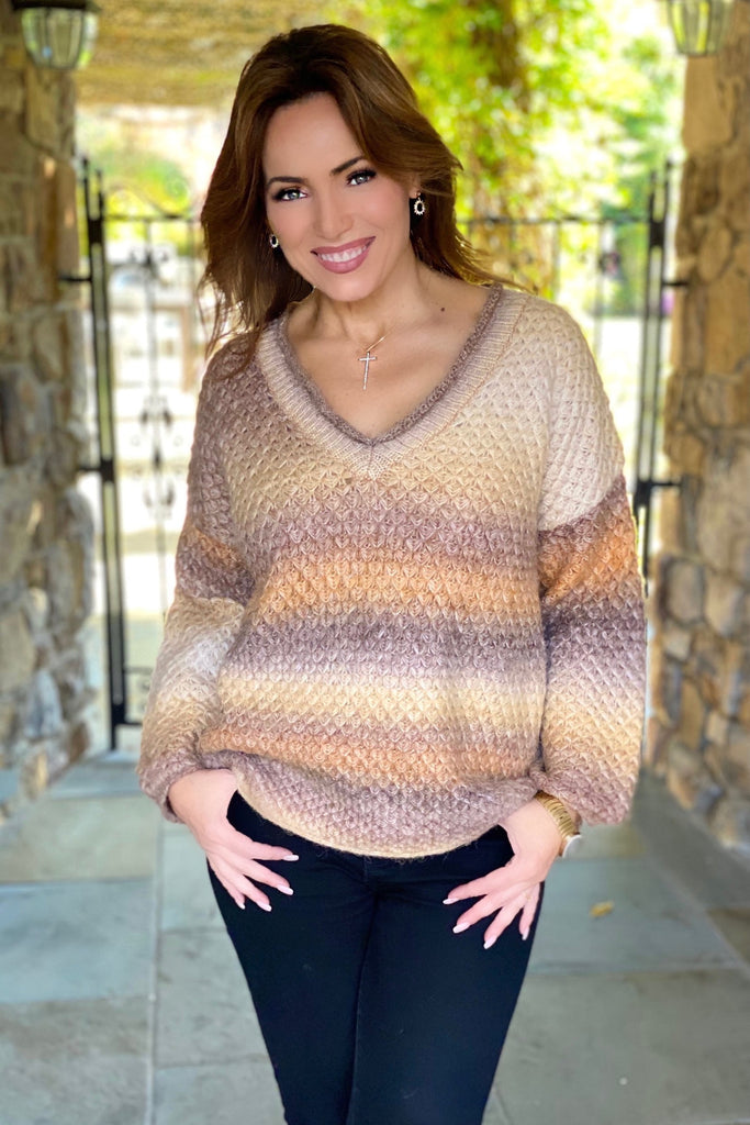 Chestnut Spice Oversize Cozy V Neck Sweater