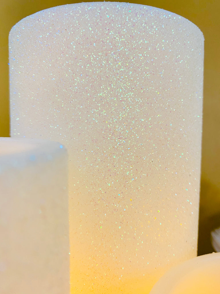 Set of 3 Iridescent Glittered LED Candles
