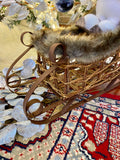 Set of 3 Brown Twig and Metal Sleighs w/Fur