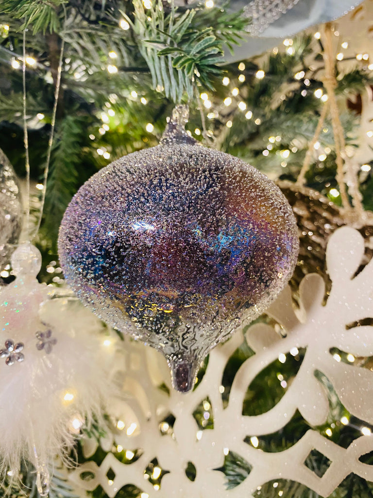 Winter Sky Iridescent Glass Ornaments
