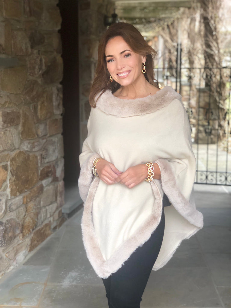 Luxe Faux Fur Trimmed Poncho