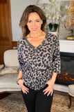 Leopard Top with Puff Sleeves and Button Detail