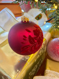 Burgundy Flocked Flowers European Glass Ornaments