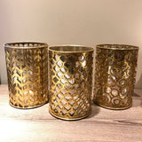 Trio of Openwork Mercury Glass and Metal Hurricanes