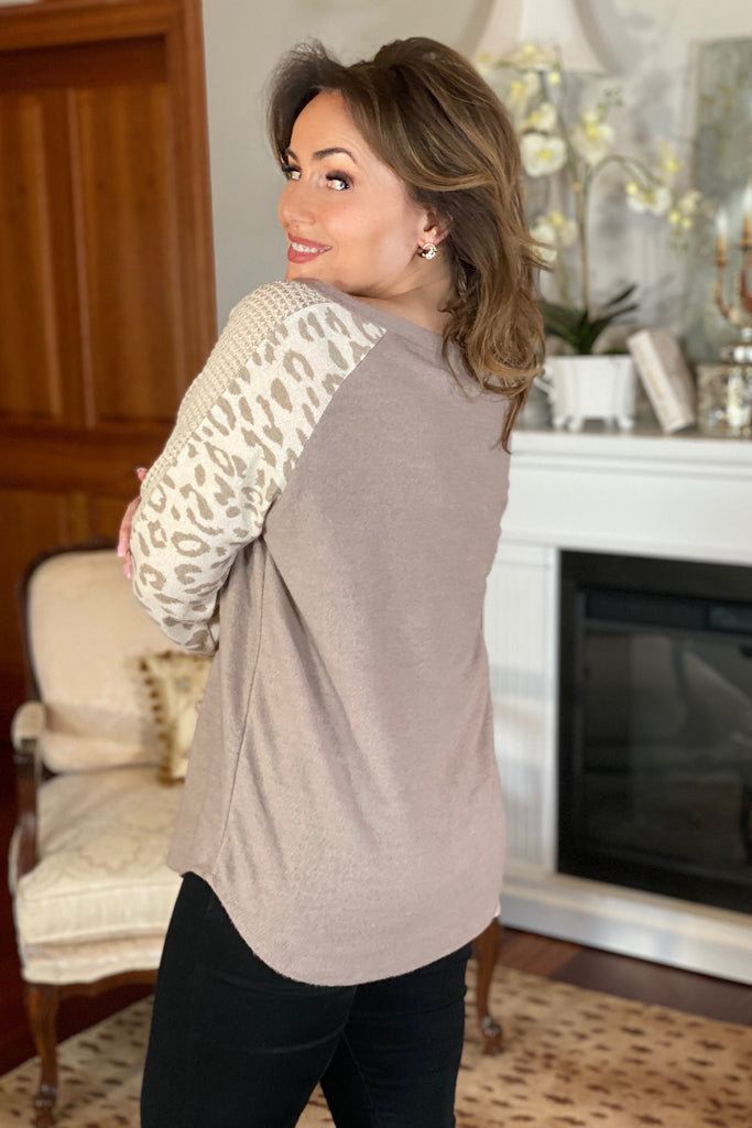 Super Soft Mocha Top with Leopard Sleeve Detail