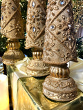 Set of 3 Antique Gold Resin Jeweled Trees