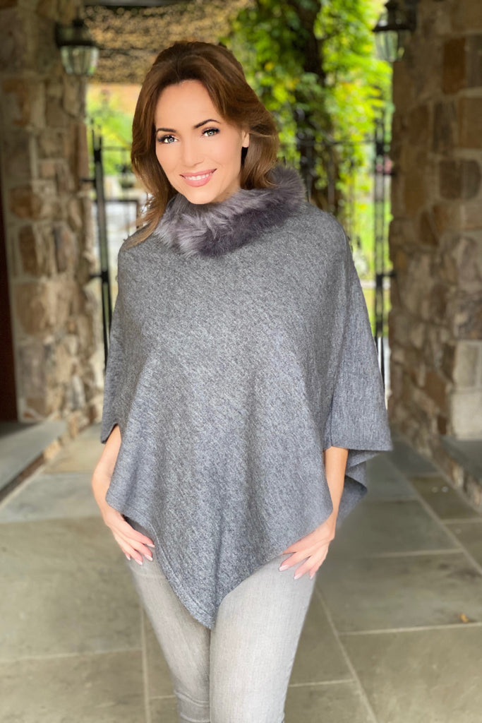 Poncho with Faux Fur Trimmed Collar