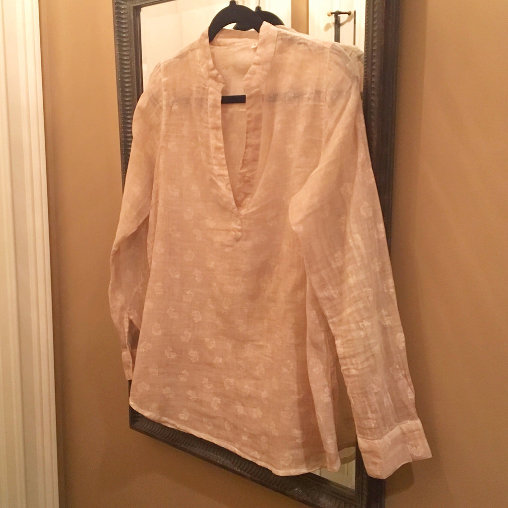 Distressed Paisley Blush or Grey Blouse
