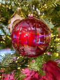 Red Iridescent Glass Ornaments