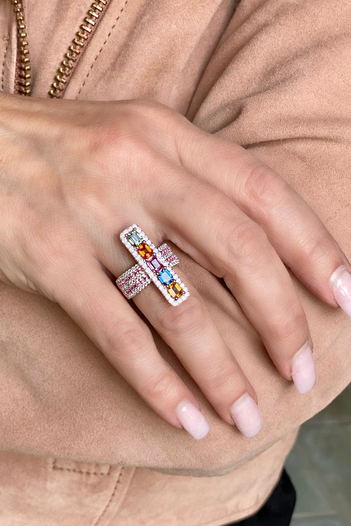 Elongated Rectangular Multi-Sapphire and White Zircon Ring