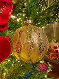 Large Dimensional Red and Gold Glass Ornaments