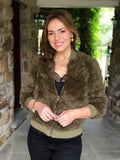 Textured Faux Fur Bomber Jacket