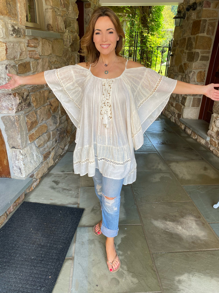 Ecru Beaded Tunic/Cover Up