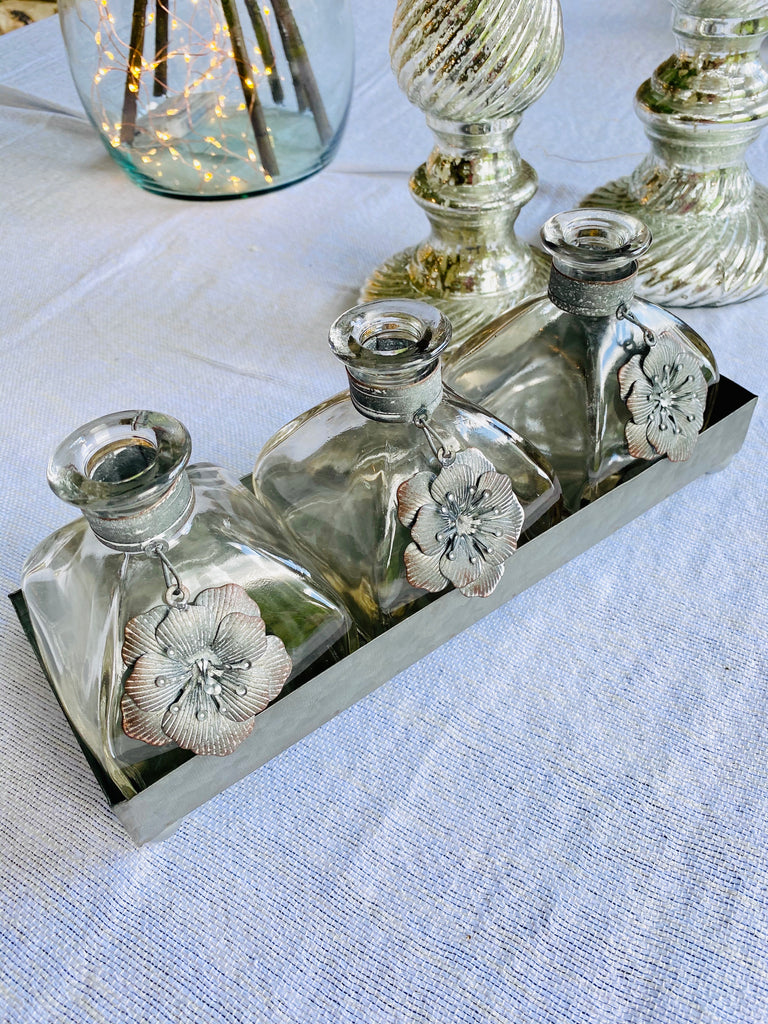 Trio of Bud Vases in Tray