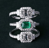 18K Gold Diamond and Emerald Triple Band Ring