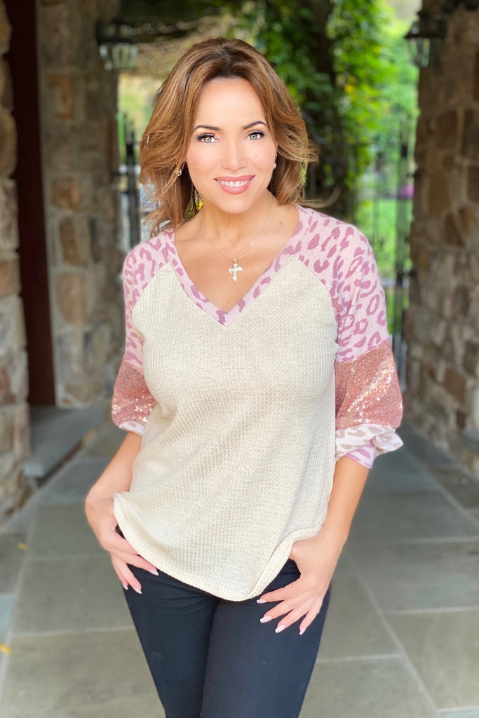 Knit Top with Leopard and Sequin Sleeves