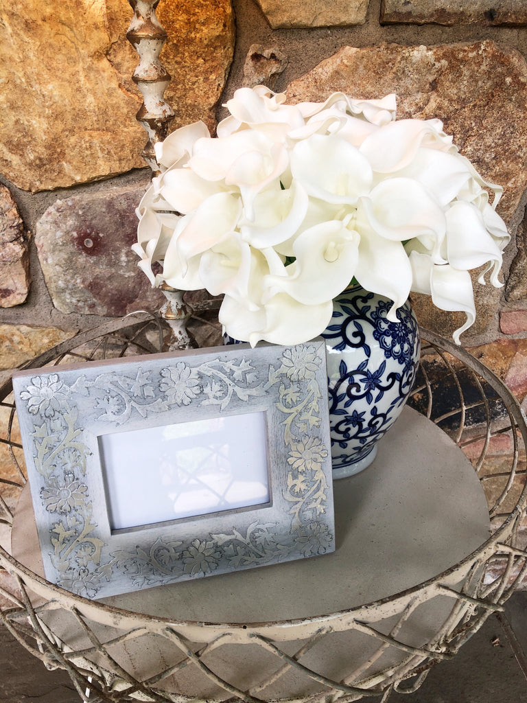 Grey Wash Floral Inlay Frames
