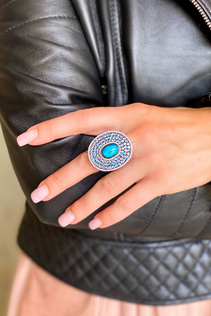 Turquoise and Pave Swiss Blue Topaz Oval Ring