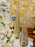 Set of 2 Antique Gold Jeweled Metal Mesh Trees