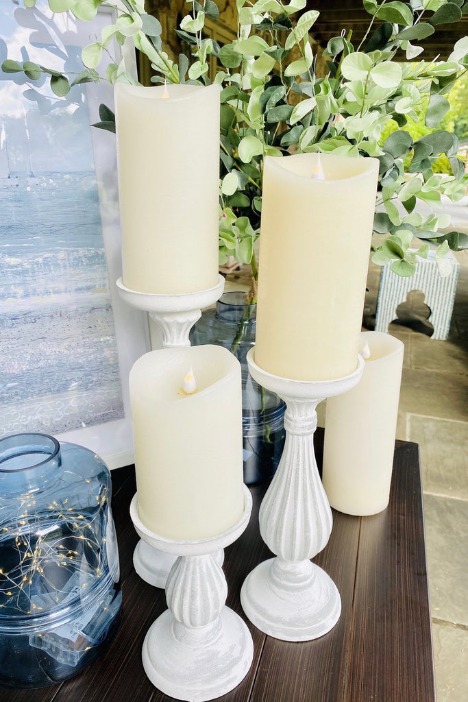Set of 3 Grey and Whitewash Candle Holders
