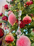 Set of 6 Sugared Red Glass Ornaments
