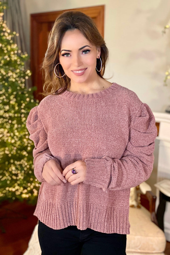 Soft Chenille Sweater with Puffy Sleeves