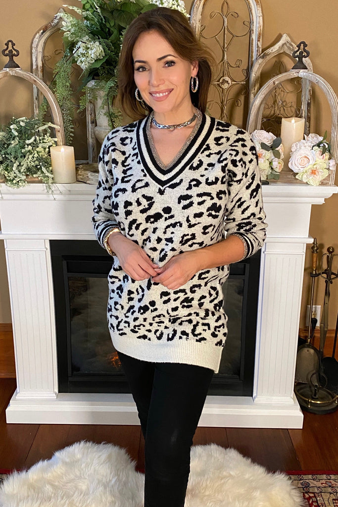 Couture Varsity Leopard Sweater