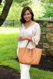 Timeless Equestrian Style Leather Tote with Inside Pouch