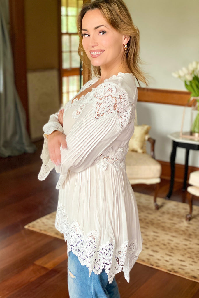 Bell Sleeve Tunic with Crochet Inset Details