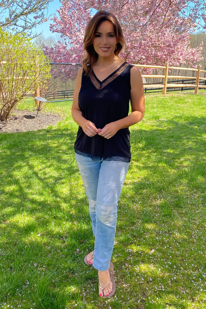 Vintage Style Sleeveless Top With Sheer Trim