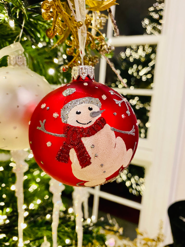 Red Smiling Snowman European Glass Ornaments
