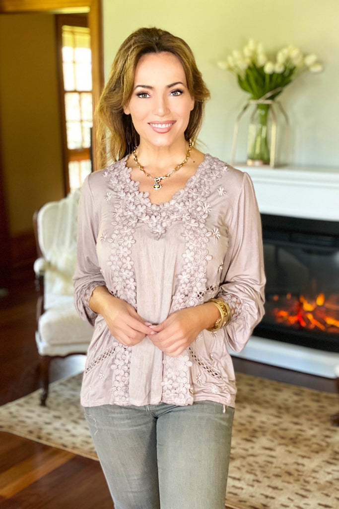 Romantic Taupe Feminine Floral Embroidery Blouse
