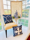 Royal Blue Velvet and Linen Embroidered Pillow